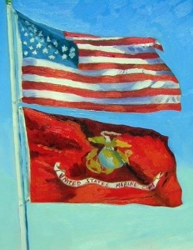 USA & EGA flags. Would be really nice as a print in office/library or living room.