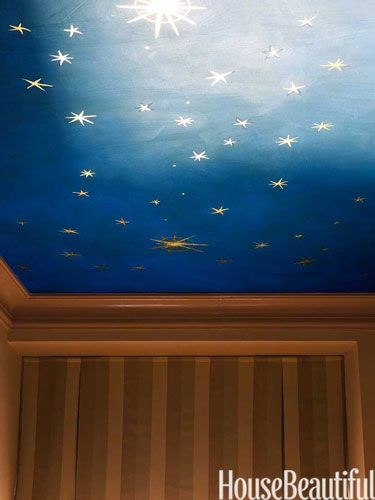 Celestial ceiling in House Beautiful. #stars #ceiling