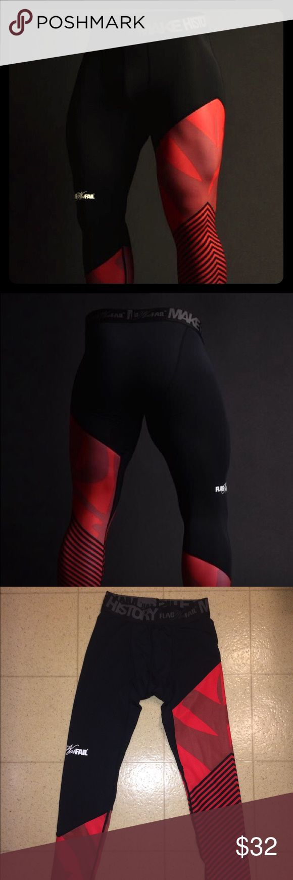 NEW Flag Nor Fail Men's Compression Pants Size S Brand New Flag Nor Fail men's compression leggings in black and red size Small. Never worn. Perfect for mens for athletic purposes.   Fit waist 29 Flag Nor Fail Pants Leggings