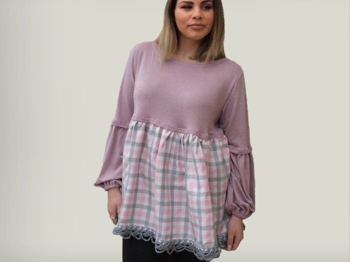 Pink loose women blouse/ long sleeves pink top/ pink plaid women blouse/ gift for her/ winter women top/ gray lace trim tp /pepperfashion by PepperFashion on Etsy
