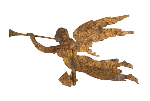 ARCHANGEL GABRIEL WEATHERVANE/ Gould and Hazlett Company, Charlestown, Boston, 1840, gold leaf on iron and copper, 28 1/2 x 71 1/2 x 6″, Kendra and Allan Daniel Collection. Photo by George Kamper, www.gkamper.com.