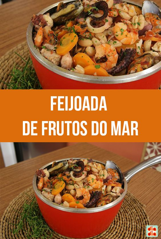 Aprenda essa receita de feijoada de frutos do mar e decore com salsinha e marisco a gosto.