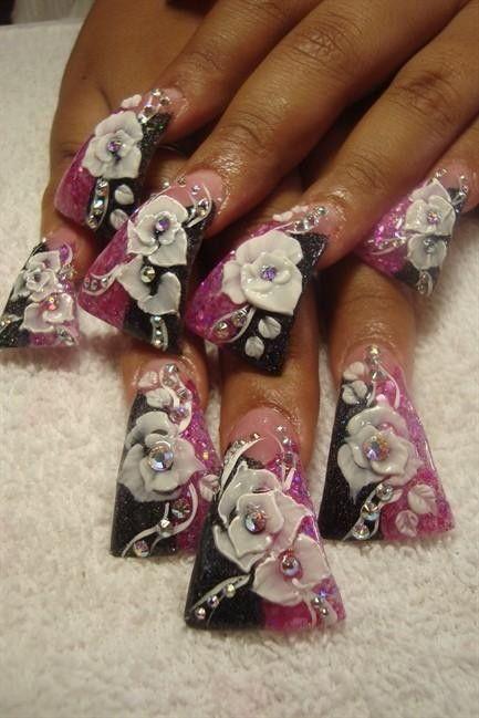 Black & purple duck feet nail tips & 3D flower art