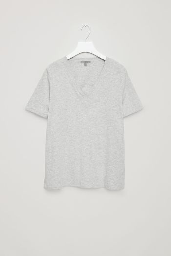 COS image 2 of V-neck cotton t-shirt in Grey