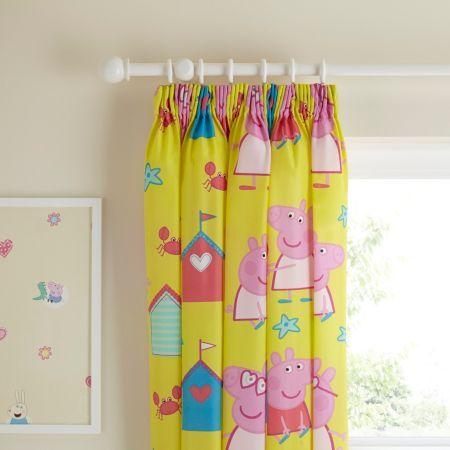 Peppa Pig Pink & Yellow Seaside Pencil Pleat Children's Curtains (W)66cm x (L)54cm | Departments | DIY at B&Q
