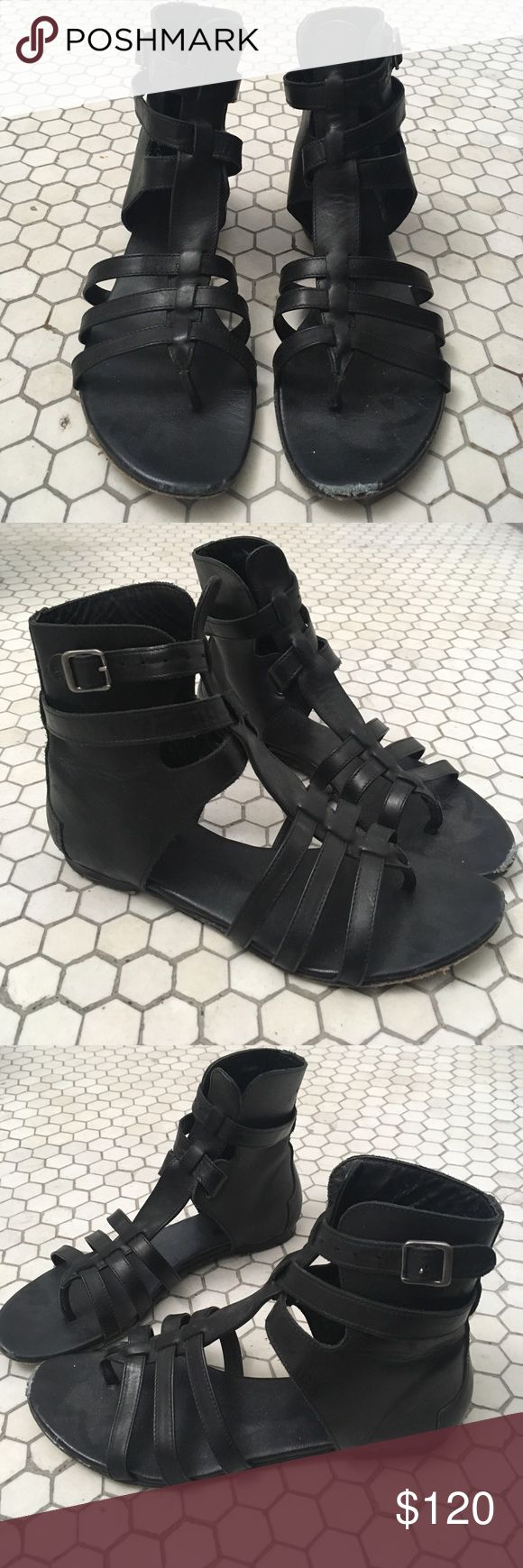 AllSaints Alomar Gladiator Black Sandals Sold out and very hard to find AllSaints Alomar Gladiator sandals in size 37, as seen on Demi Lovato (exact). The AllSaints Alomar Sandal is crafted in soft Italian nappa leather, with multiple straps framing the foot. Gladiator style. Adjustable ankle strap with single buckle fastening. Visible scuffs on front, easily fixable. AllSaints Shoes Sandals