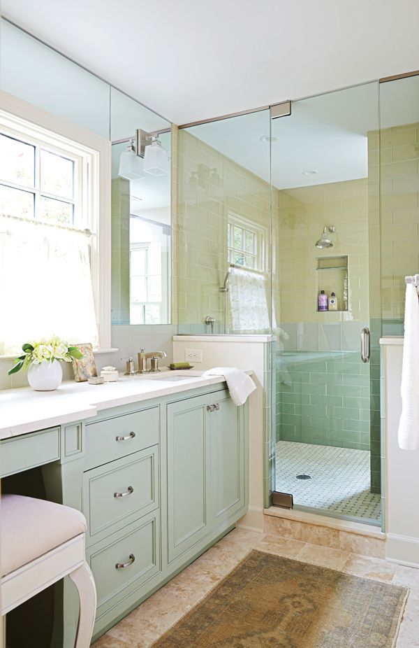 Mint bathroom vanity...and that shower! #master #bathroom #design