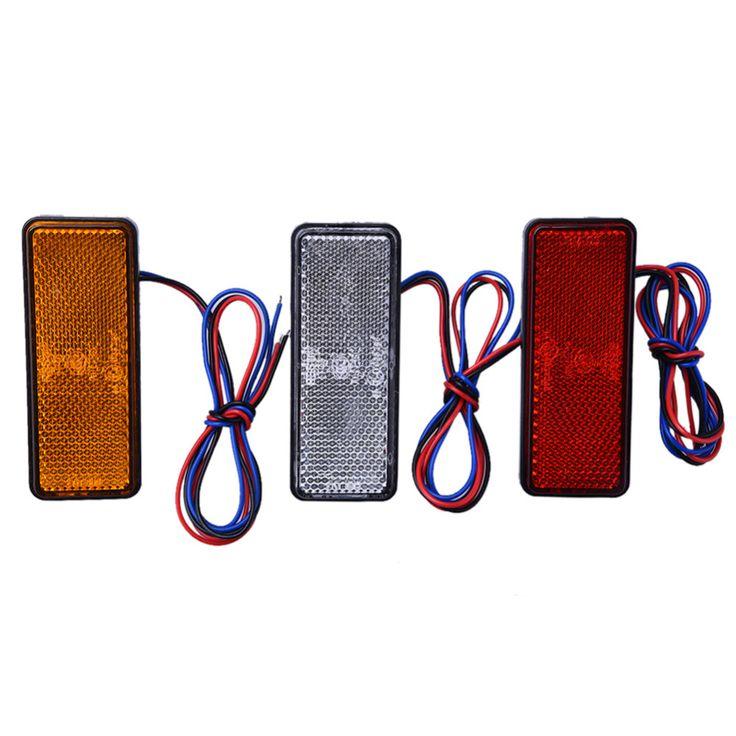 Baru 12 V Universal LED Reflektor Putih Merah Kuning Belakang Tail rem Berhenti Marker Cahaya Untuk JEEP SUV Truk Trailer Motor mobil