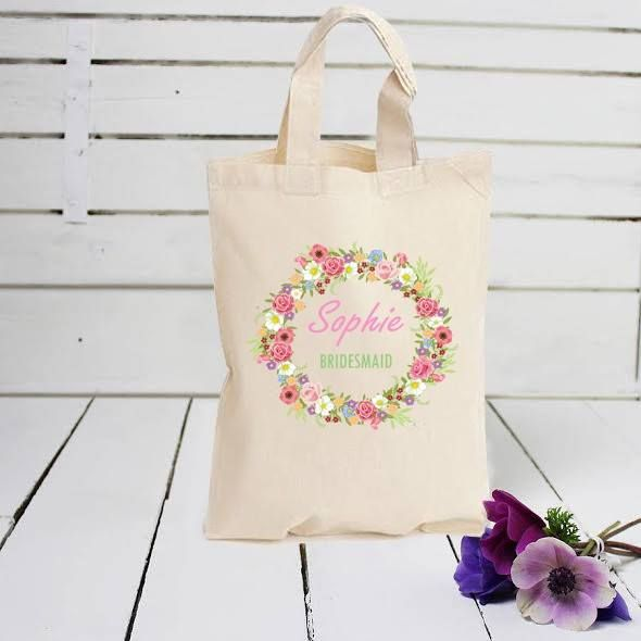 Printed Personalised Party, Flower Girl, Bridesmaid Favour Small gift Bag
