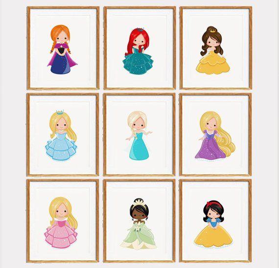 Princesses Print Set Set Of 9 Girls Room Decor Disney Princess