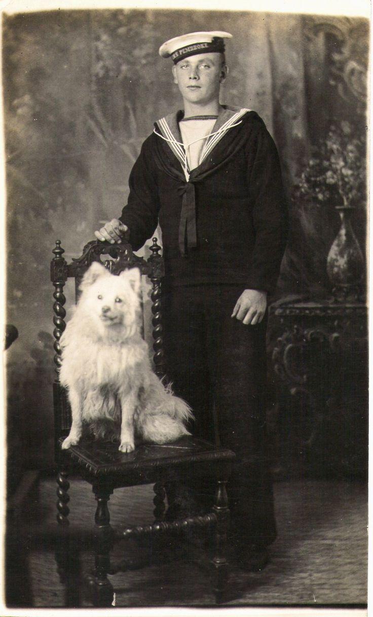 Sailor and spitz vintage dog