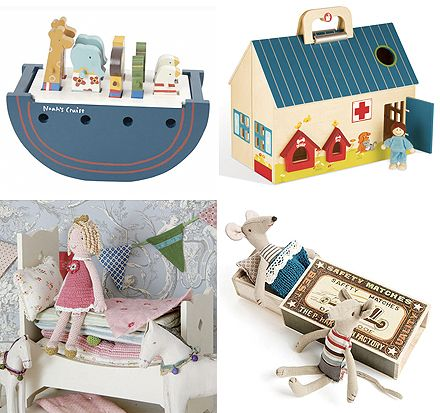 This is one of the most charming Noah's Ark sets I have come across. The animals are magnetically secured in place and the animals can be marched up and down a little ramp!  Also from BelleandRollo: Village Train Set with play mat , mobile vet clinic and two of my absolute favourites Princess & The Pea and Matchbox Mice    You can also get the Princess & The Pea and Matchbox Mice at The Chic Country Home (everything comes beautifully packaged :)