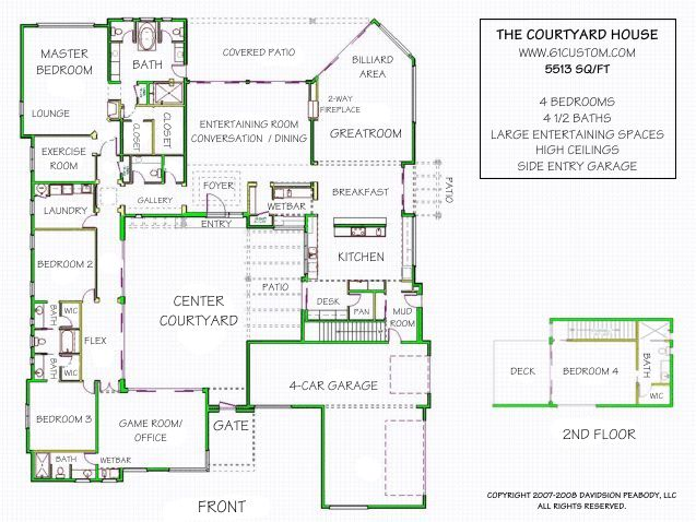 26 best Central interior courtyard house plan images on Pinterest ...