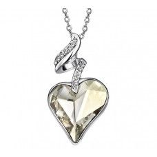 Crystal Silver Shade Heart Necklace. Made with Swarovski elements. Get 10% off code: Swa-074