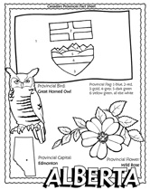 Canadian Provinces coloring pages--with flag, bird, flower, and shape
