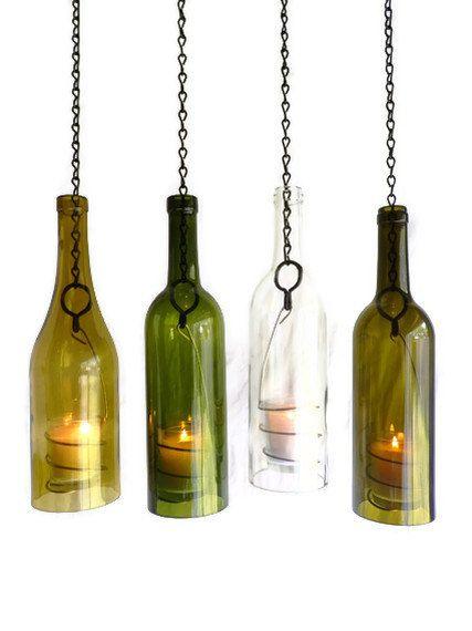 Porte-bougie bouteille de vin verre suspendu ouragan lanterne lot de 4
