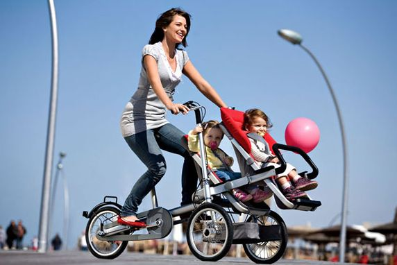 Introducing, the bike/stroller for families. Amazing!