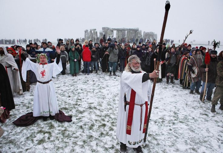 Druid Arthur Uther Pendragon, formally known as John Rothwell, conducts a service at Stonehenge on the winter solstice in 2009