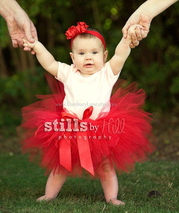 Red tutu only for baby, Valentines or Birthday and newborn photo prop, choose from infant sizes 0,3,6,9,12,18, 24 months -BUTTERFLY KISSES