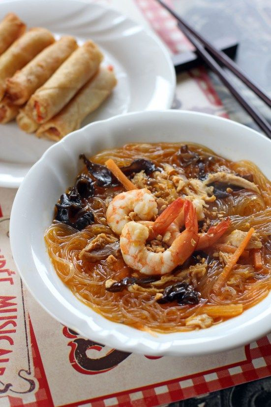 Sotanghon Soup Sotanghon also known as Cellophane noodles, Chinese vermicelli, Tang Hoon, Bean Threads, Bean Thread Noodles, Crystal Noodles, or Glass noodles is a type of transparent noodles which are made out of mung beans (green beans). This type of noodle is widely used in East and South East Asian Cuisine such as the Korean Jap Chae, Chinese Jiaozi or Bing, Vietnamese Spring rolls and Thailand's Yum Woon Sen.