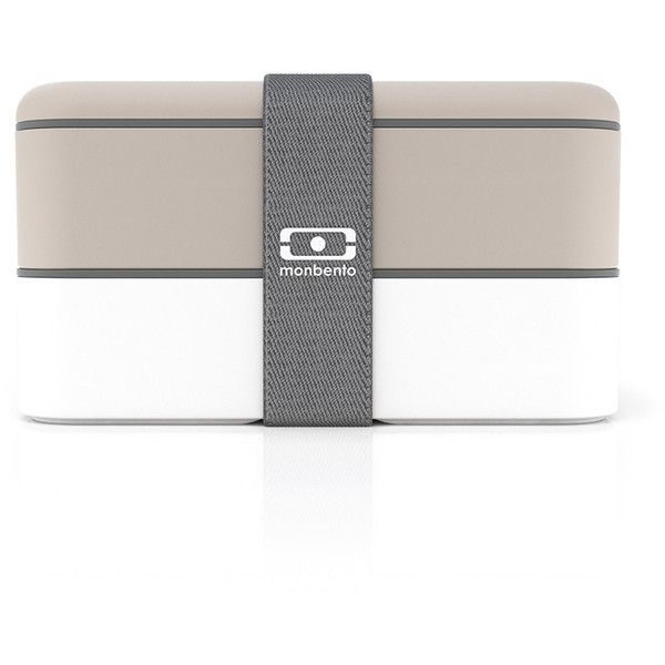 Monbento MB Original Bento Box - Grey / White ($37) ❤ liked on Polyvore featuring home, kitchen & dining, food storage containers, grey, plastic bento box, bento box lunch box, bento lunch box and white bento box