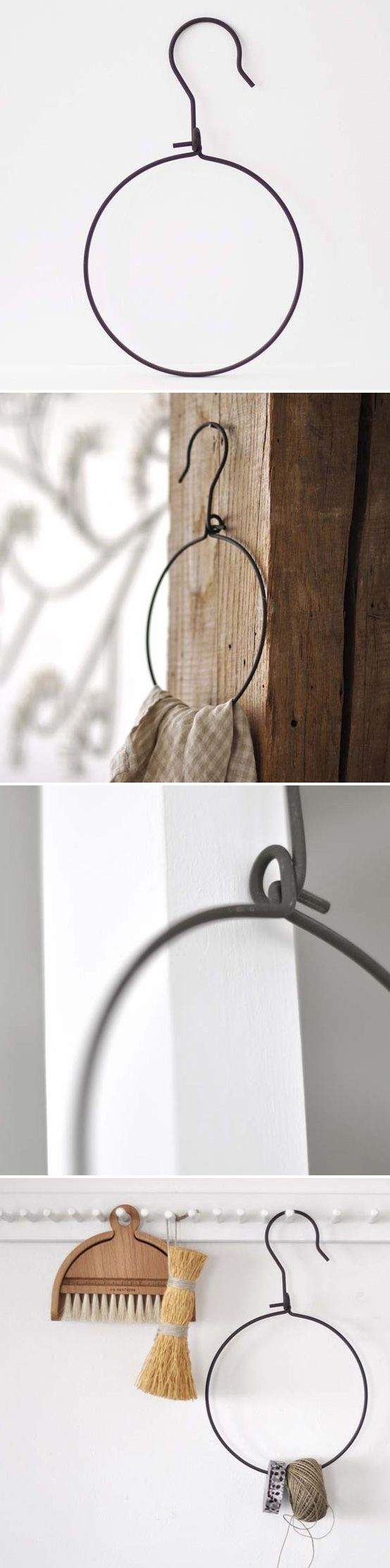 DIY :: WIRE HOOK HANGER :: This wire hook (from some French retailer) can easily be made yourself. I love the idea of hanging twine or towels from it. | #wire #farmhousedecor #rusticdecor