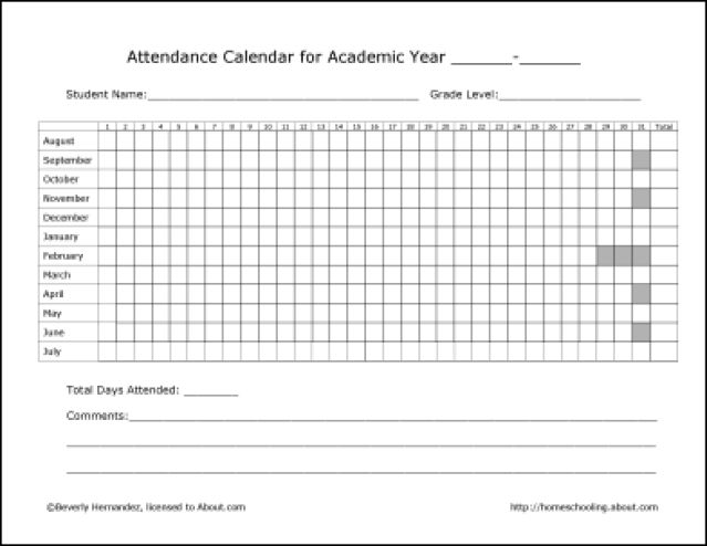 Homeschool Record Keeping Forms: Attendance Record Form