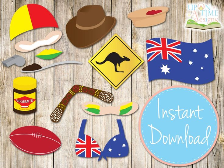 These PRINTABLE Photobooth Props are a great way to get your guests interacting in the photobooth. With a great collection of items including lifeguard cap, some zinc to keep the sun off, a boomerang, footy, Vegemite, meat pie and more.