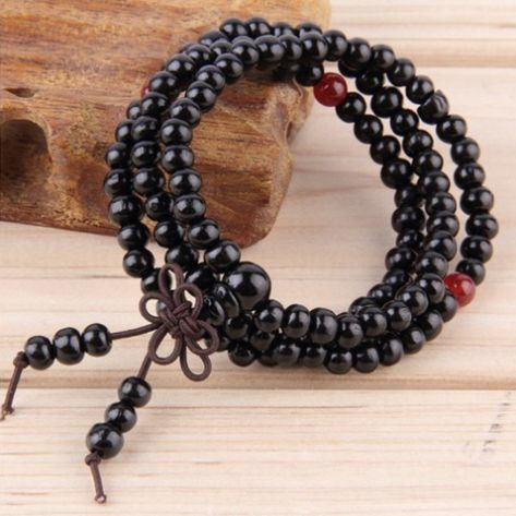 Black Natural Sandalwood Meditation Beads