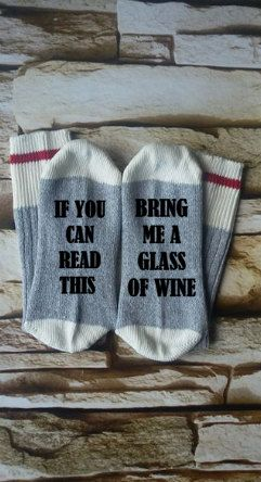 wine socks,  if you can read this,  bring me wine, gifts for her, stocking stuffer, Christmas gift, mommy sock, socks for mom, teacher gift
