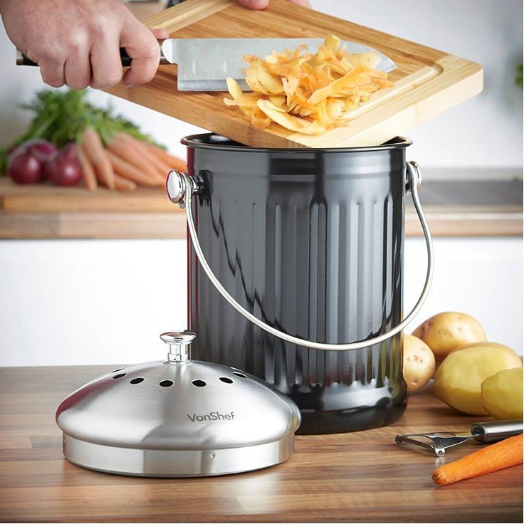 vonshef 12 gallon stainless steel countertop kitchen compost bin u0026 free odor absorbing filter model 07