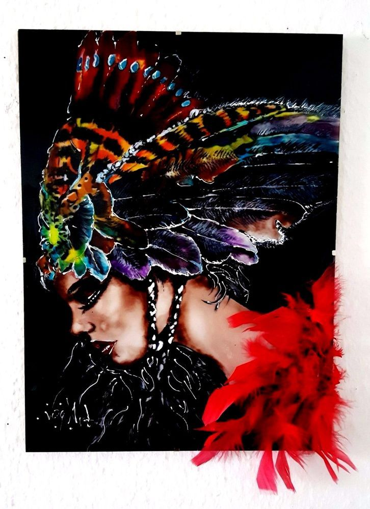 Indischer Frau mit Federn 3D, Glasmalerei Bild