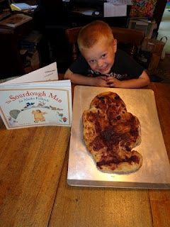 To celebrate Cherie Stihler's birthday, August 12, we read The Sourdough Man: An Alaska Folktale.  We made a sourdough man by making a sourdough starter! It was a great experience for my son!