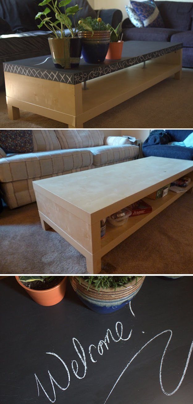 Homemade Coffee Table Chalk Paint Makeover   Chalkboard Coffee Table by DIY Ready at http://diyready.com/16-more-diy-chalk-paint-furniture-ideas/