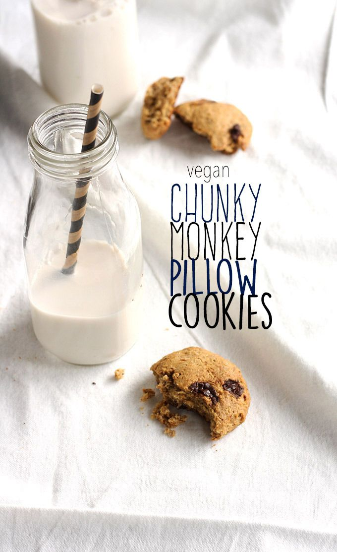 Vegan Chunky Monkey Pillow Cookies - they're simple, healthy, and packed full of deliciousness!   love me, feed me