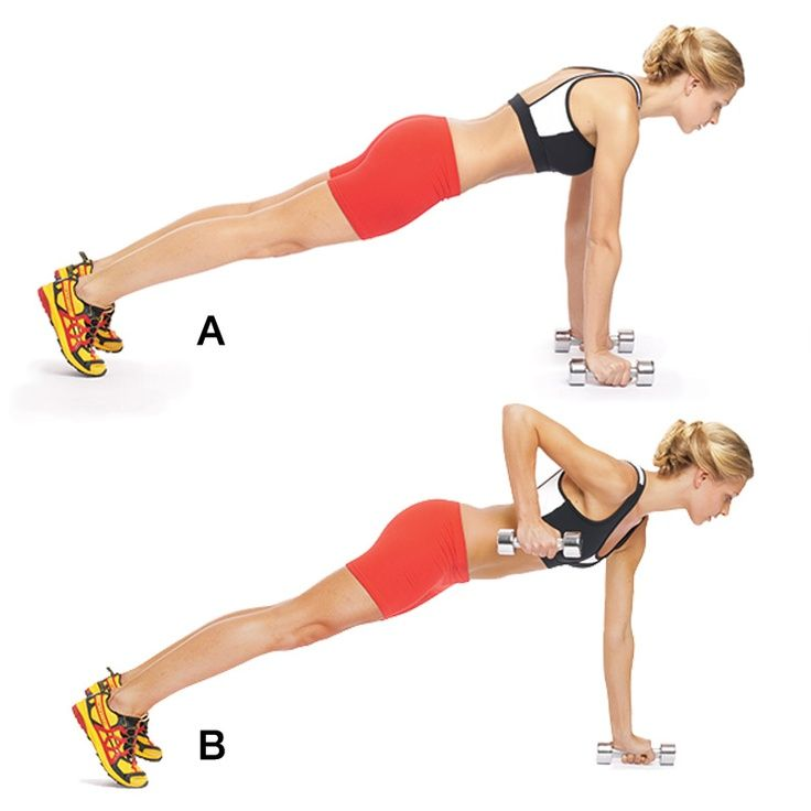 Pushup Row w/ Core Hold: Get into pushup position with your arms straight and your hands resting on dumb-bells, feet slightly wider than hip-width apart (A). Brace your abs as you pull one dumbbell toward your body until your elbow is above your back (B). Pause, then slowly return the weight to the floor and repeat with the other arm. That's 1 rep.