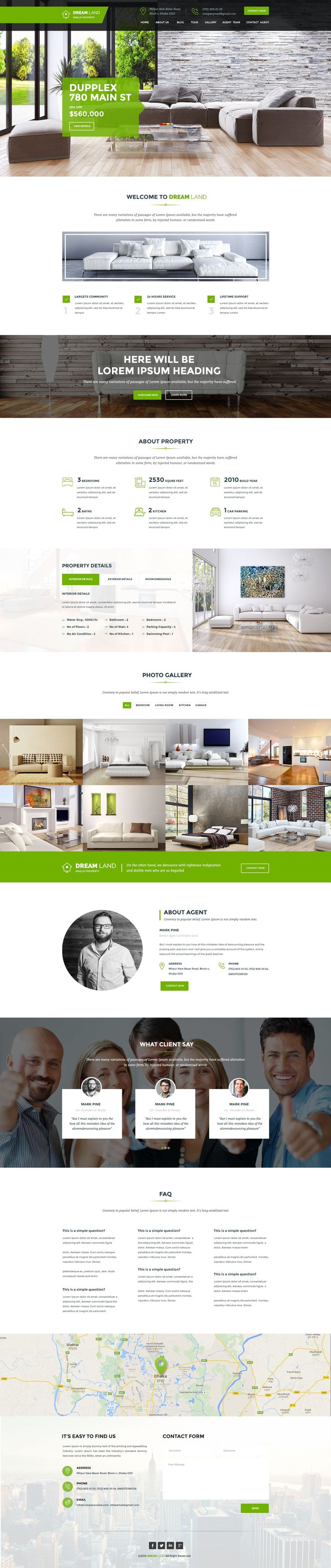 Dream Land Single Property Real Estate WordPress Theme. We have created the theme with real life experience. With 2 types of headers, One page and Multipage. Right fit for Selling your #Villa, Land, #Apartment, #House and Raw Houses. #website