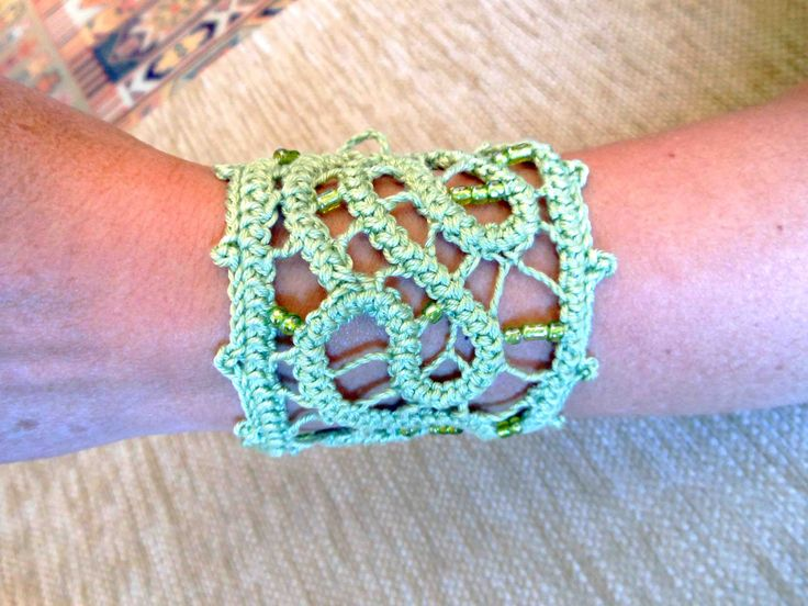 Light Green  Romanian Point Lace   Cuff with beads