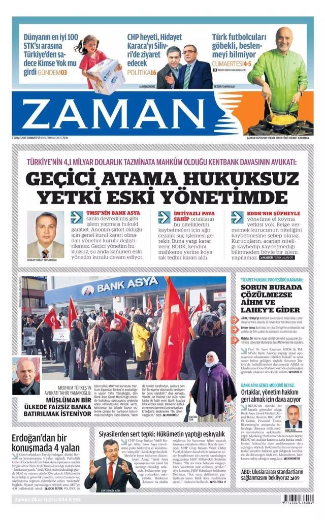 Zaman Gazetesi bugünkü birinci sayfa:   http://www.zaman.com.tr