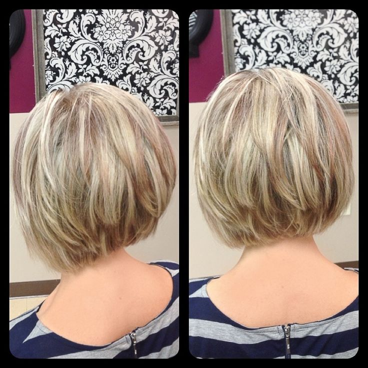 ... inverted bob with multitonal highlights and lowlights, stacked, soft