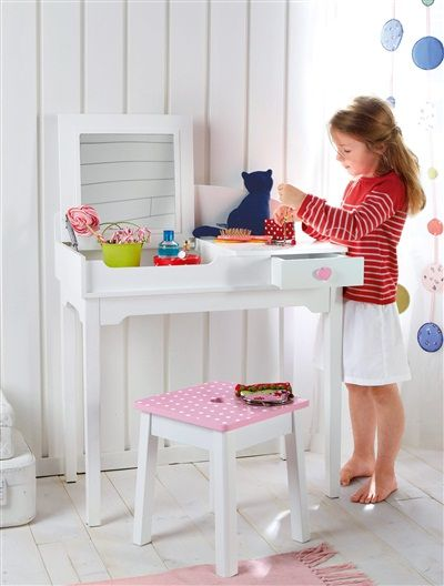 Coiffeuse bureau transformable fille blanc vertbaudet enfant so girly dressing table desk - Coiffeuse chambre fille ...