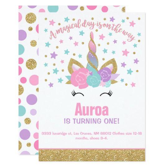 Magical Unicorn Birthday Invitation Party