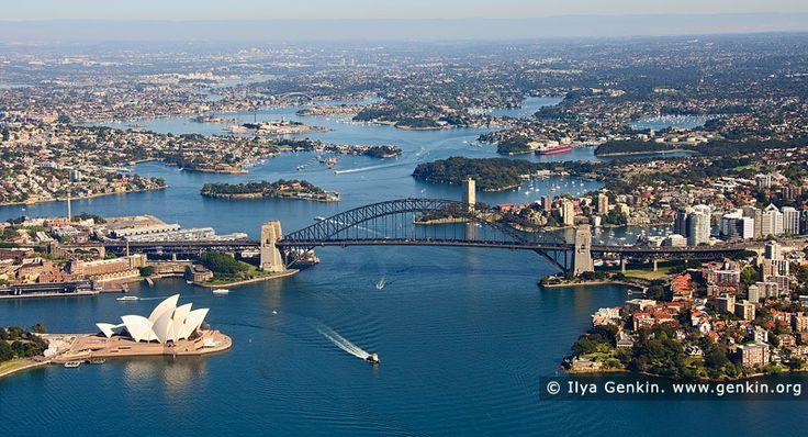 Aerial View of Sydney City , Sydney, NSW, Australia. High altitude aerial photo image of the Sydney Harbour from the air, showing the Sydney Opera House, the Sydney CBD, Circular Quay, the Bridge, the Parramatta River, North Sydney, and Kirribilli.