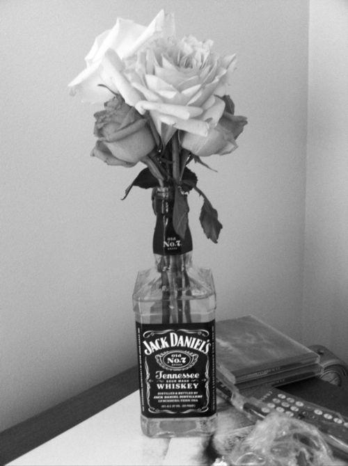 Jack Daniels bouquet.  Cute!