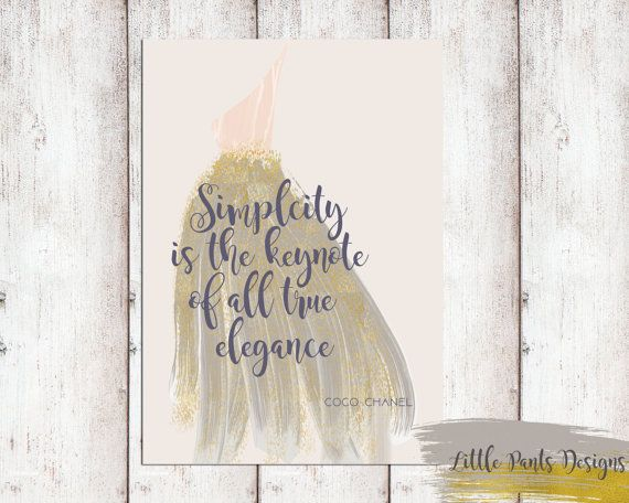Simplicity is the keynote to all true elegance - CoCo Chanel Quote Printable DIY Pink Gold Wall Art Poster Dress Dreamy Fashion by LittlePantsDesigns