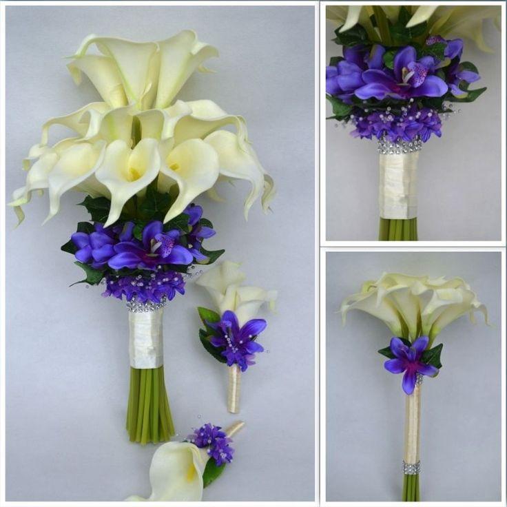 Beautiful calla lilies orchid baby breath wedding