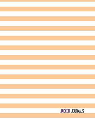 Jacked Journals: Bullet Grid Journal - Original, Striped Color - 185 Dot Grid Pages, 8 x 10 , Professionally Designed (Sunset Orange)