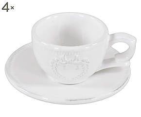 Set di 4 tazzine da caffe' con piattino in ceramica Fiocco - 6x14 cm