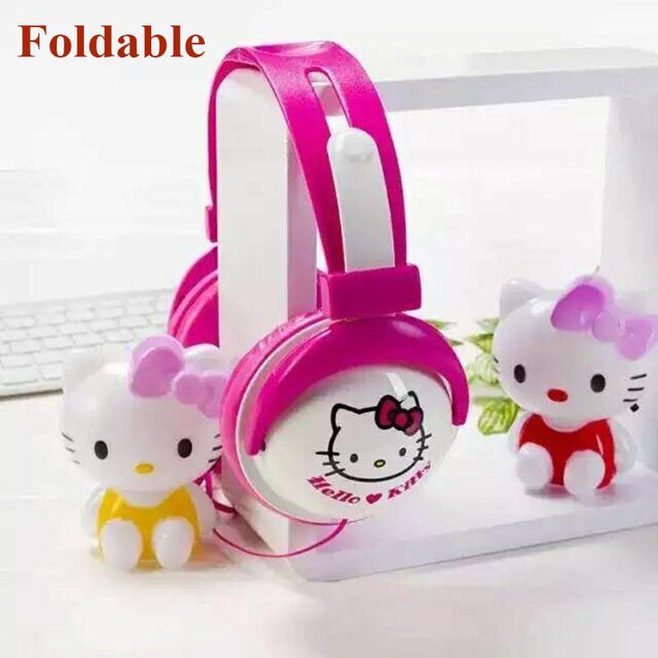 Fodabale Hello Kitty Cartoon stereo Headphone with Mic for mobile phone 3.5mm Cartoon Earphone Headset Headband For Girls Kids