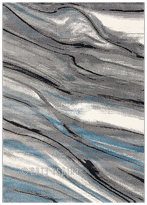 A grey carpet with blue/black waves